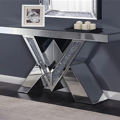 Contemporary Elegant Mirrored Console, Contemporary Mirrored Console Table